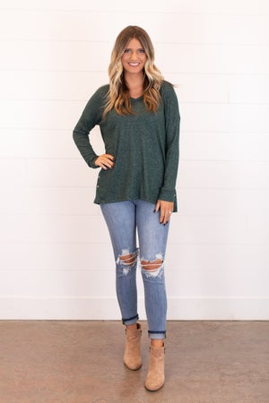sku16972 | Heathered Knit Side Button Tunic