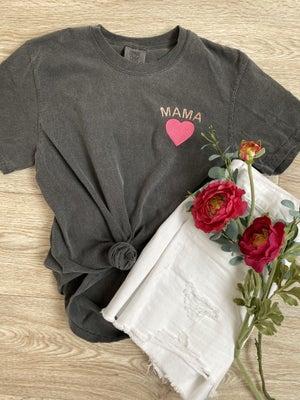 sku20172 | Embroidered Mama Heart Graphic Tee
