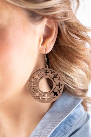 sku18009 | Laser Cut Round Wood Earrings