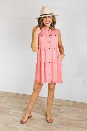 sku18953 | Mineral Washed Tiered Dress