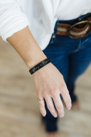 sku20795   Everything Is Possible Faux Leather Bracelet