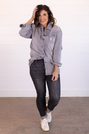 sku15740 | Distressed Button Up Shirt