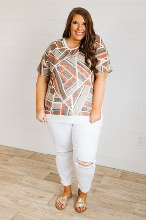 sku19663 | Geometric Print Hi-Lo Top