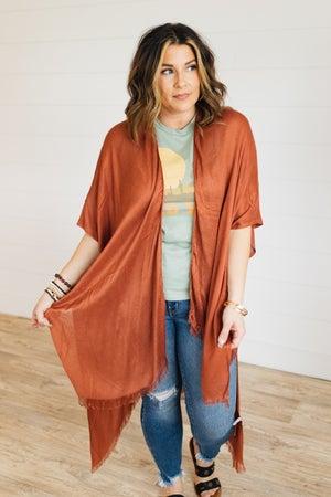 sku21310 | **Daily Deal** Open Weave Frayed Kimono