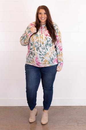 sku17237 | Tie Dyed Hooded Pullover