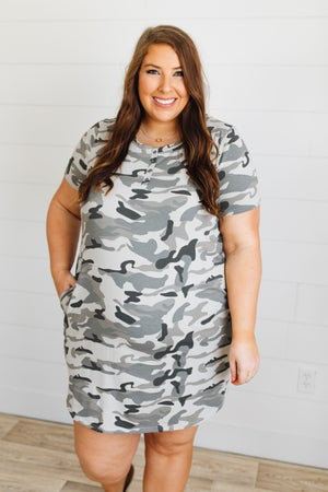 sku20114 | Camo Hi-Lo Henley Dress