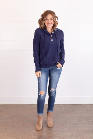 sku17512 | Drawstring Hooded Sweater