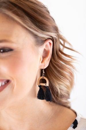 sku18005 | Geometric Wood Tassel Earrings