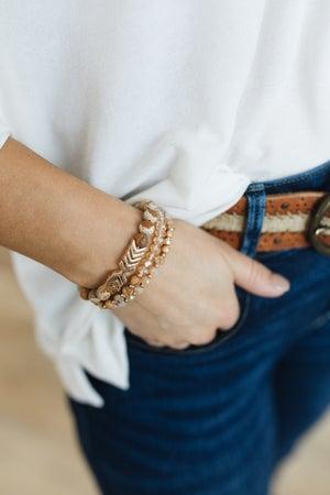sku20788   Natural Stone And Glass Bead Chevron Bracelet Set