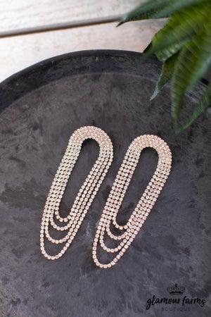 sku13903 | Rhinestone Layered Dangle Earrings