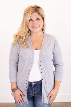 sku16035 | **Daily Deal** 3/4 Sleeve Snap Cardigan