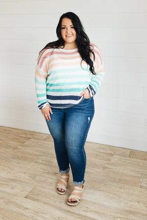 sku21360   Lightweight Striped Drop Shoulder Sweater