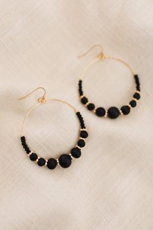 sku19082   Wood Bead Dangle Earrings