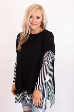 sku17093 | Striped Border Poncho Tunic