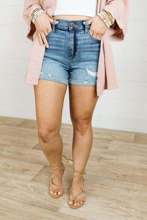 sku20923 | Sneak Peek High Rise Tomboy Denim Shorts