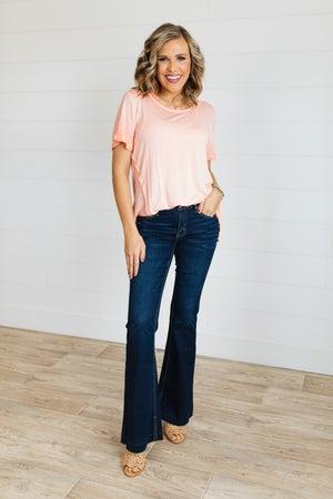sku20398 | KanCan Mid Rise Split Hem Flared Jeans
