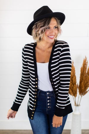 sku15218 | **Daily Deal** Striped Snap Cardigan