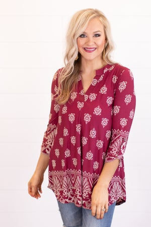 sku16716 | Damask V-Notch Tunic
