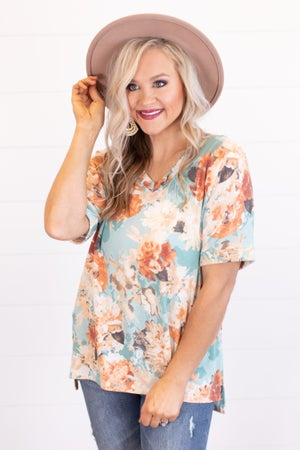 sku16713 | Floral V-Neck Tunic
