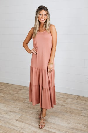 sku18668 | Tiered Cut-Out Back Maxi Dress