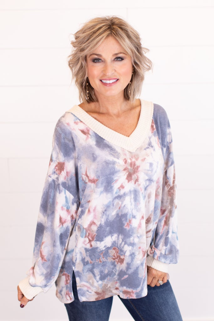sku16780 | Tie Dyed V-Neck Top