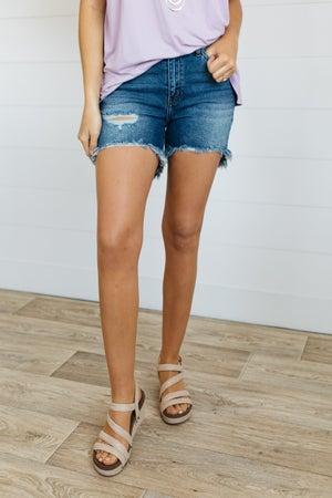 sku20417 | Nature Denim Distressed Hi-Lo Denim Shorts