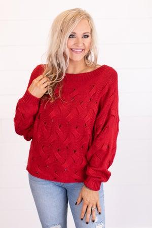 sku16889   Basket Weave Off Shoulder Sweater