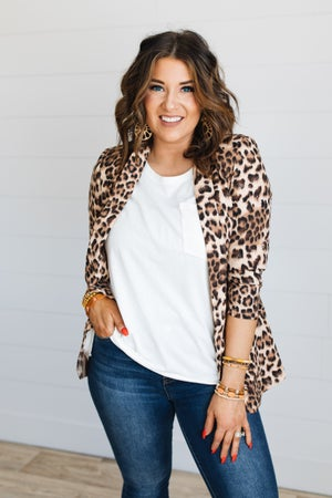 sku19235 | Animal Print Ruched Sleeve Blazer