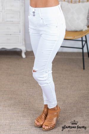 sku13659 | Distressed Three Button Skinny Jeans