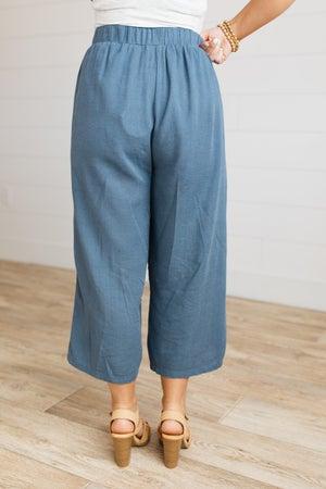 sku19022   Linen Fray Edge Drawstring Pants