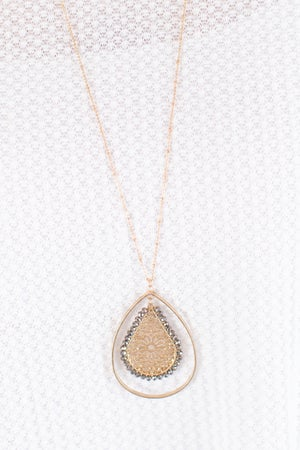 sku17079   Filigree and Beads Teardrop Necklace