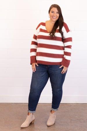 sku15418 | Striped V-Neck Sweater