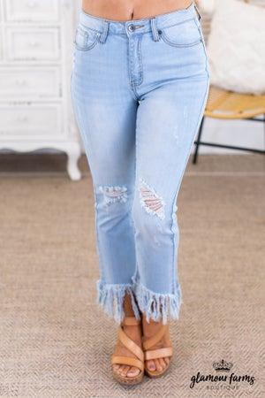 sku13696 | Distressed Fringe Hem Jeans