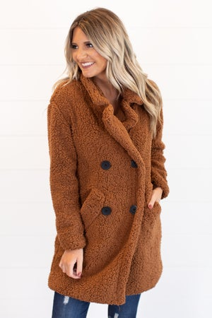 sku15874   Double Breasted Sherpa Coat