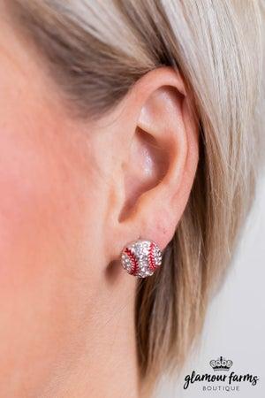 sku10770 | Pave Baseball Earrings