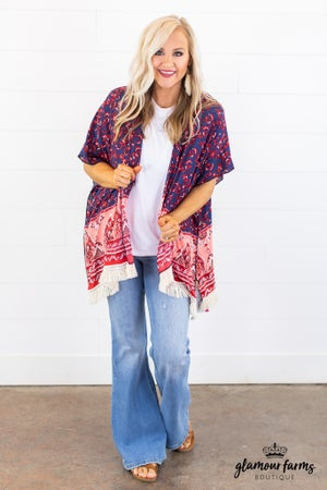 sku14940 | **Daily Deal** Floral Fringed Kimono