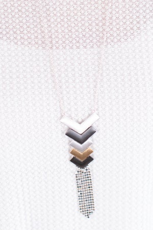 sku17372 | Chevron And Mesh Chain Necklace