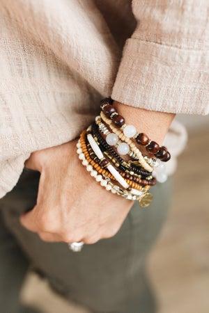 sku21317   Mixed Bead And Charm Bracelet Set