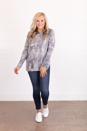 sku16339   Tie Dyed Shawl Collared Top