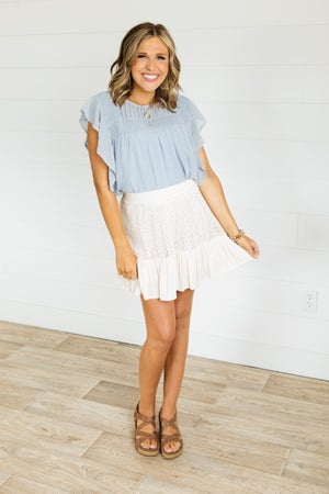 sku21447   Crocheted Lace Ruffle Hem Skirt