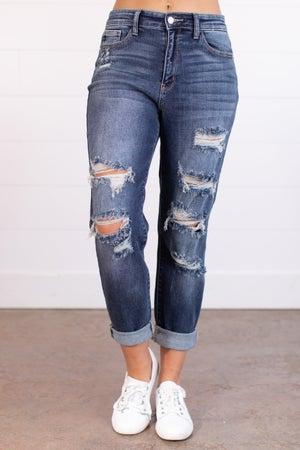 sku17570   High Rise Destroyed Boyfriend Jeans