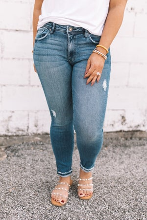 sku20407 | KanCan Distressed Mid Rise Skinny Jeans