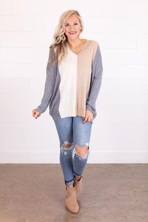 sku17468 | Color Block Tunic Sweater