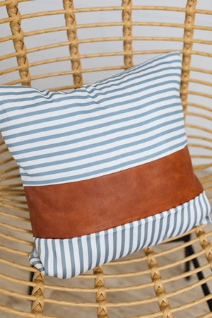 sku19373 | **Daily Deal** Faux Leather Striped Pillow Cover