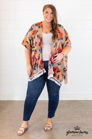 sku14343 | Floral Tassel Trim Kimono