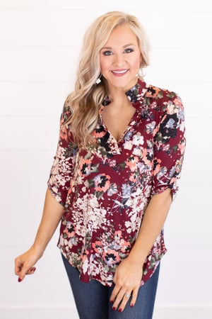 sku17820 | Floral Button Tab Top
