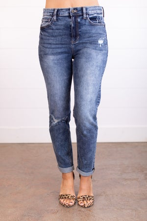 sku17753 | High Rise Distressed Tomboy Jeans