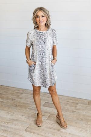 sku19613 | Animal Print Side Pocket Dress