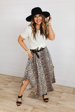 sku18717   Animal Print Smocked Maxi Skirt