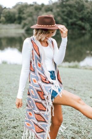 sku14324 | **Daily Deal** Aztec Woven Longline Vest